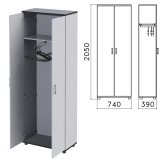 Шкаф для одежды «Монолит», 740-390-2050 мм, цвет серый, ШМ49.11