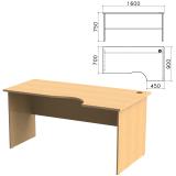 Стол письменный эргономичный «Монолит», 1600-900-750 мм, правый, цвет бук бавария, СМ6.1