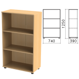 Шкаф (стеллаж) «Монолит», 740-390-1250 мм, 2 полки, цвет бук бавария