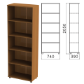 Шкаф (стеллаж) «Монолит», 740-390-2050 мм, 4 полки, цвет орех гварнери, ШМ44.3