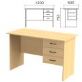 Стол письменный «Канц», 1200-600-750 мм, тумба 3 ящика, цвет бук невский, СК27.10