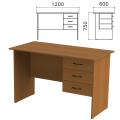 Стол письменный «Канц», 1200-600-750 мм, тумба 3 ящика, цвет орех пирамидальный, СК27.9