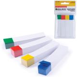 Закладки самоклеящиеся BRAUBERG (БРАУБЕРГ), бумажные, 75-14 мм, 4 цв.х100 л., белые с цветным краем