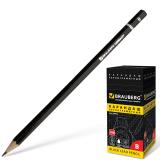 Карандаш чернографитный BRAUBERG (БРАУБЕРГ), В, черный, без резинки, заточенный, картонная упаковка