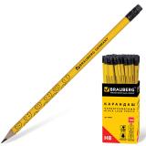 Карандаш чернографитный BRAUBERG (БРАУБЕРГ), НВ, желтый со смайлами, с резинкой, заточенный, картонная упаковка