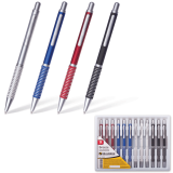 Ручка шариковая BRAUBERG бизнес-класса Breeze, корпус ассорти, серебристые детали, 1мм, синяя,141424