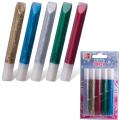Гели ЛУЧ, набор 5 цветов, «Блеск», с блестками, туба 10 мл (синий, красный, зеленый, сереб., золот.)