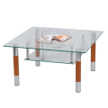 Стол журнальный, стекло/дерево/металл, Кристалл - ПК (П), 1000-600-417 мм, хром