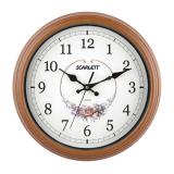 Часы настенные SCARLETT SC-25Q круг, белые с рисунком, коричневая рамка, плавный ход, 30,0-30,0-5 см