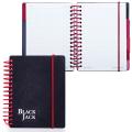Блокнот BRAUBERG (БРАУБЕРГ), A6, 105-148 мм, 150 л., «Black Jack» («Блэк Джек»), гребень сбоку, пласт. обложка на резинке, клетка