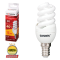 Лампа люминесцентная энергосберегающая SONNEN, компактная, Т2, 9 (40) Вт, цоколь E14, 12000 ч., теплый свет
