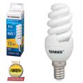 Лампа люминесцентная энергосберегающая SONNEN, компактная, Т2, 11 (60) Вт, цоколь E14, 12000 ч., холодный свет