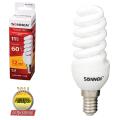 Лампа люминесцентная энергосберегающая SONNEN, компактная, Т2, 11 (60) Вт, цоколь E14, 12000 ч., теплый свет