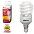 Лампа люминесцентная энергосберегающая SONNEN, компактная, Т2, 15 (75) Вт, цоколь E14, 12000 ч., теплый свет