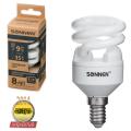 Лампа люминесцентная энергосберегающая SONNEN Т2, 9 (35) Вт, цоколь E14, 8000 часов, холодный свет
