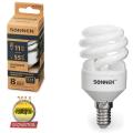 Лампа люминесцентная энергосберегающая SONNEN Т2, 11 (55) Вт, цоколь E14, 8000 часов, холодный свет
