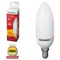 Лампа люминесцентная энергосберегающая SONNEN, свеча, Т2, 9 (40) Вт, цоколь E14, 12000 ч., теплый свет