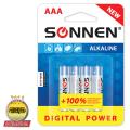 Батарейки SONNEN, AAA (LR03), комплект 4 шт., «Digital Power», СУПЕРАЛКАЛИН, в блистере, 1,5 В