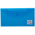 Папка-конверт с кнопкой BRAUBERG, 250*135 мм, 150 мкм, прозрачная, синяя, 224031