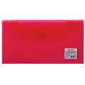 Папка-конверт с кнопкой BRAUBERG, 250*135 мм, 150 мкм, прозрачная, красная, 224030