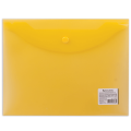 Папка-конверт с кнопкой BRAUBERG, А5, 240*190 мм, 150 мкм, прозрачная, желтая, 224028