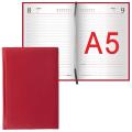 Ежедневник BRAUBERG (БРАУБЕРГ) полудатированный, А5, 148-218 мм, «New York» («Нью-Йорк»), «гладкая кожа», 192 л., бордовый