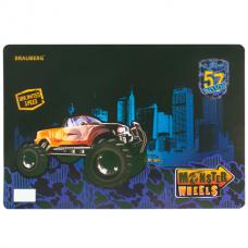 Коврик-подкладка настольный для письма BRAUBERG (БРАУБЕРГ) «Monster wheels», для мальчиков, 43-29 см, пластик