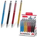 Ручка-стилус SONNEN для смартфонов/планшетов, корп.ассорти, серебр.детали, 1мм, дисплей,синяя,141587