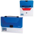 Портфель пластиковый BRAUBERG (БРАУБЕРГ), А4, 350*235*35 мм, без отделений, белый/синий