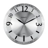 Часы настенные SCARLETT SC-55N, круг, серебристые, серебристая рамка, плавный ход, 33,0-33,0-5,0 см