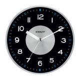 Часы настенные SCARLETT SC-55E, круг, черные, серебристая рамка, плавный ход, 32,0-32,0-5,1 см