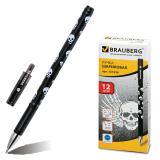 Ручка шариковая BRAUBERG Черепа, корпус с печатью, узел 0,7мм, линия 0,35мм, синяя, 141536