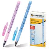 Ручка шариковая BRAUBERG Узоры, корпус с печатью ассорти, узел 0,7мм, линия 0,35мм, синяя, 141539