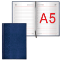 Ежедневник BRAUBERG (БРАУБЕРГ) недатированный, А5, 138-213 мм, «London» («Лондон»), «матовая кожа», 160 л., синий
