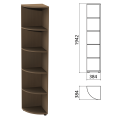 Шкаф (стеллаж) угловой «Этюд», 384-384-1942 мм, 4 полки, дуб онтарио