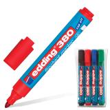 Маркеры для флипчарта EDDING, набор 4 шт., круглый наконечник, 1,5-3 мм, непропитывающие (черный, синий, красный, зеленый), E-380/4S