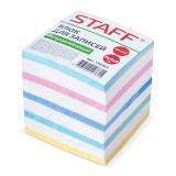 Блок для записей STAFF непроклеенный, куб 9*9*9 см, цветной, чередование с белым, 126367