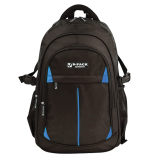 Рюкзак BRAUBERG B-PACK (БРАУБЕРГ Би-Пак) для учеников старших классов/студентов, черный с синими уголками, 47-31-16 см