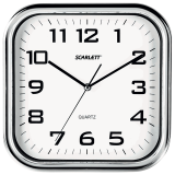 Часы настенные SCARLETT SC-WC1003O квадратные, белые, серебристая рамка, пластик, плавный ход, 30-30-4,6 см