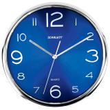 Часы настенные SCARLETT SC-WC1012O круглые, синие, серебристая рамка, пластик, плавный ход, 30-30-4,5см
