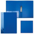 Папка с боковым металлическим прижимом и внутренним карманом. БЮРОКРАТ синяя, до 100 листов, 0,7мм, PZ07Cblue