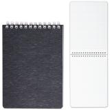 Блокнот А6, 110-145 мм, 80 л., «Хатбер», гребень, пластиковая обложка, «WOOD-черный»