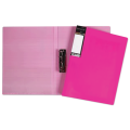 Папка с боковым металлическим прижимом и внутренним карманом «Хатбер» HD, «Неоново-розовая», 100 л., 0,9 мм